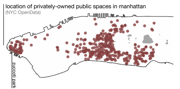 locations of privately-owned public spaces in manhattan